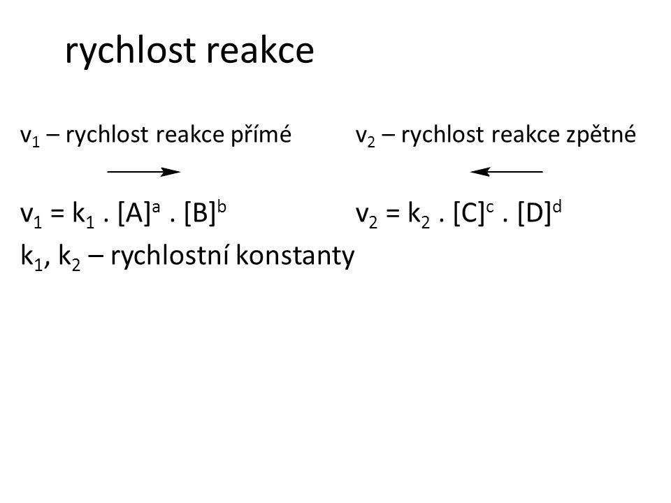 rychlost reakce v1 = k1 . [A]a . [B]b v2 = k2 . [C]c . [D]d